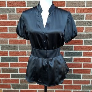 Whbm black silk belted top